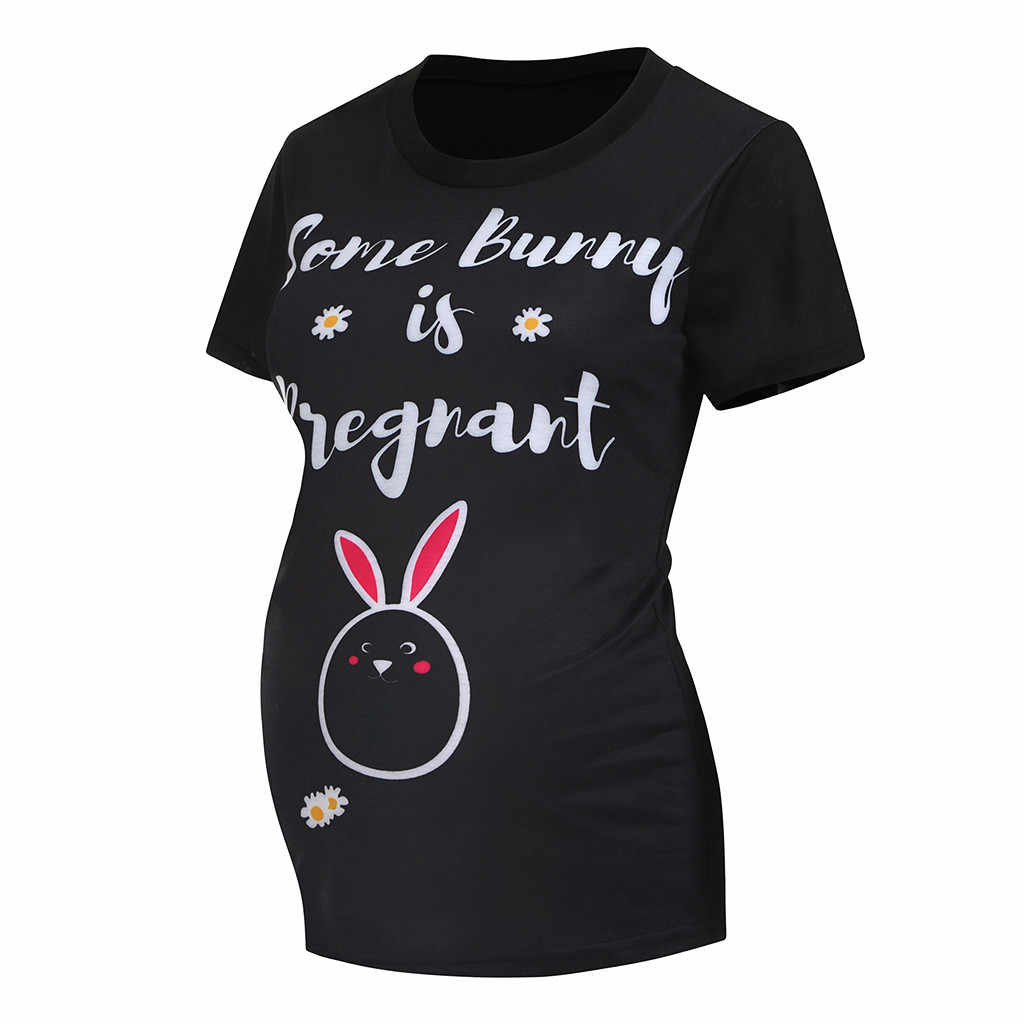 Sagace Wanita T-shirt Wanita Bersalin Bayi Kelinci Bunga Cetak Bunny T-shirt Tee Top Kehamilan Pakaian Sehari Hari Musim Panas Blus