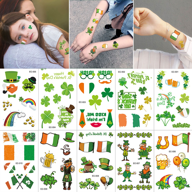 St Patricks Day Decorations One-time Waterproof Day Carnival Kids Tattoo Stickers Saint Patricks Day Costume Party Decor Supplie 1