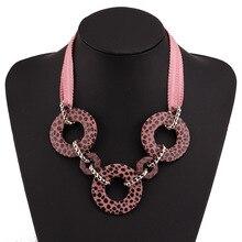 The new 2019 geometric circles leopard print ribbon necklace jewelry fashion woman