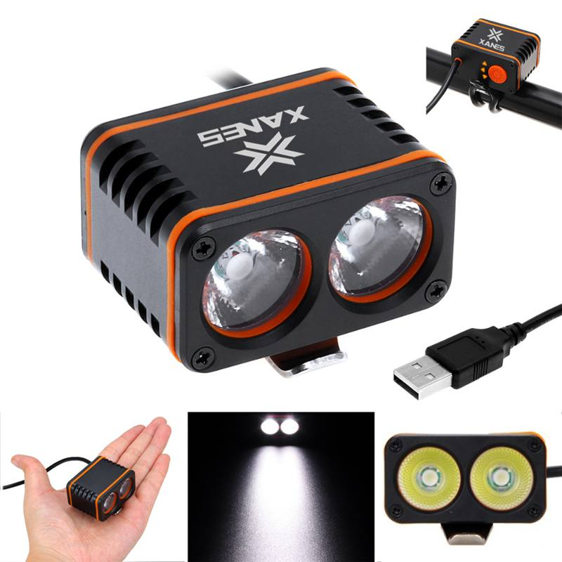 XANES 1200LM 2xT6 LED 4-Mode USB Waterproof Bike Light Temperature Control Display For Cycling Car Lamp Torch Lantern Riding
