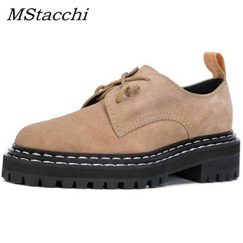 MStacchi 2020 Spring Women Shoe Woman Genuine leather Lace-Up Shallow Casual Shoes Ladies Thick Bottom Square Heel Platform Boot