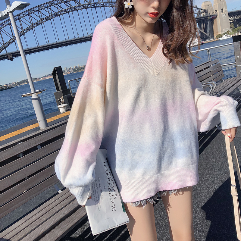 MISHOW Spring Autumn Rainbow Pink Sweater Women V-neck Loose Long Sleeves Knit Pullover Over Size Outer Wear Tops MX19C5425