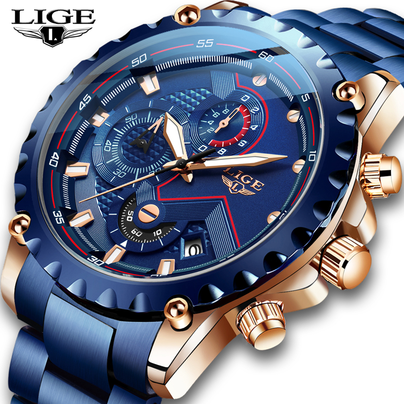 Top Brand LIGE Men Watches Fashion Blue Stainless Steel Waterproof Sport Watch Men Quartz Clock Male Chronograph Reloj Hombre