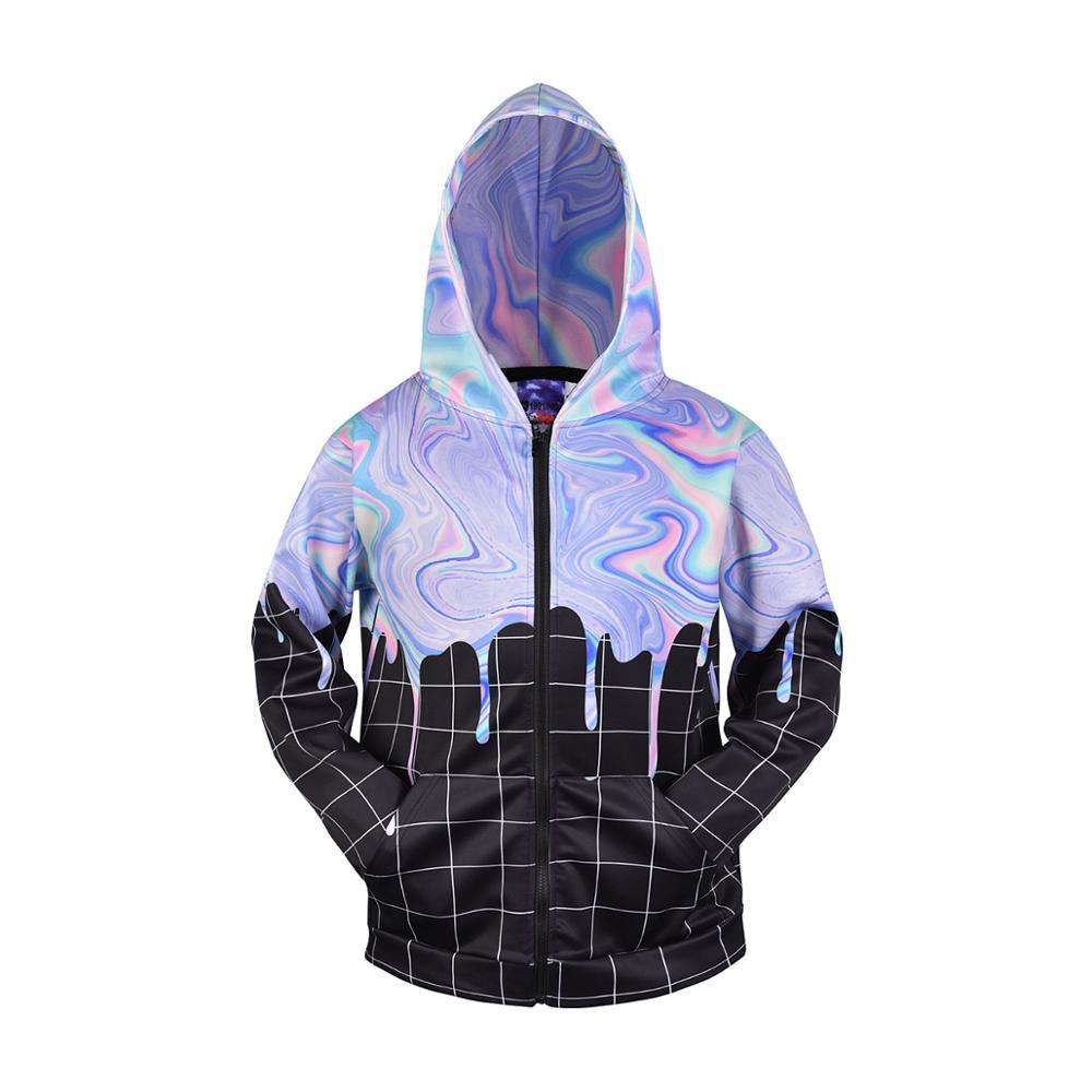 3D Men Hoodies Zip Up Splatter Color Print Hip Hop Streetwear Casual Jacket Women Outwear Hipster Grids Hood