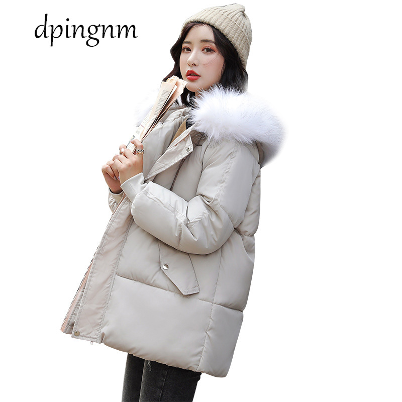 Winter Jacket Women   Parkas   for Coat Fashion Female Jacket With a Hood Large Faux Fur Collar Coat 2019 Autumn high quality