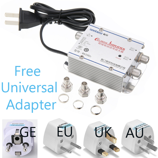 2 Way 1 in 2 out CATV Cable TV Antennas Signal Amplifier AMP Antenna Signal Booster Splitter Home TV Equipments 45Mhz to 860MHz
