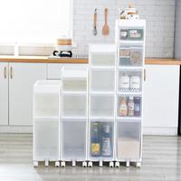 22CM kitchen quilted storage rack drawer type slot storage rack plastic multi layer floor pulley storage cabinet angle frame