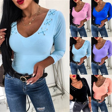 NEW Autumn and Winter Women Pure Color Long Sleeve Simple Style Slim T-shirt(6 Colors)