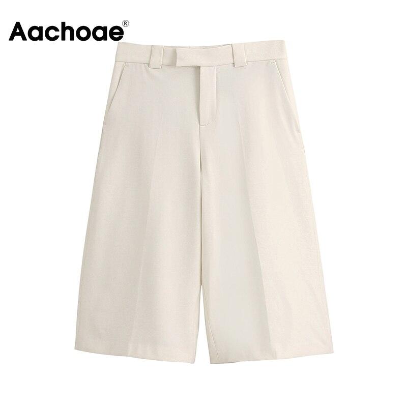 Aachoae Women Loose Casual Half Pants 2020 Solid Fashion High Waist Wide Leg Trousers Ladies Office Suit Pants Pantalon Femme