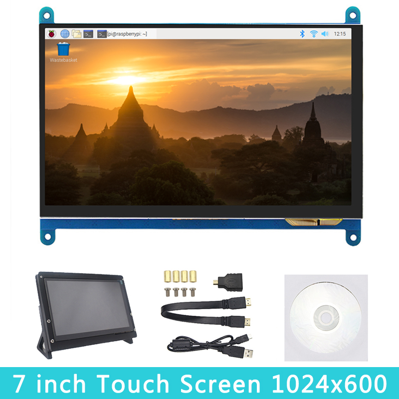 7 Inch Raspberry Pi 4B /3B+/3B Touch Screen 1024*600 800*480 LCD HDMI Display |Holder Compatible PC Laptop Nvidia Jetson Nano