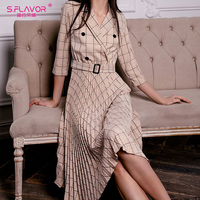 S.FLAVOR Turn Down Collar Double breasted Blazer Dress Office Lady Three Quarter Sleeve Pleated Dress Work Wear Party Dress