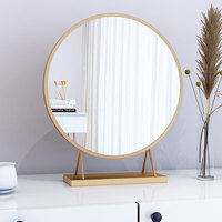 Makeup mirror Nordic gold / white Metal round wall vanity mirror home decorative bedroom dresser large Desktop mirrors mx9261728