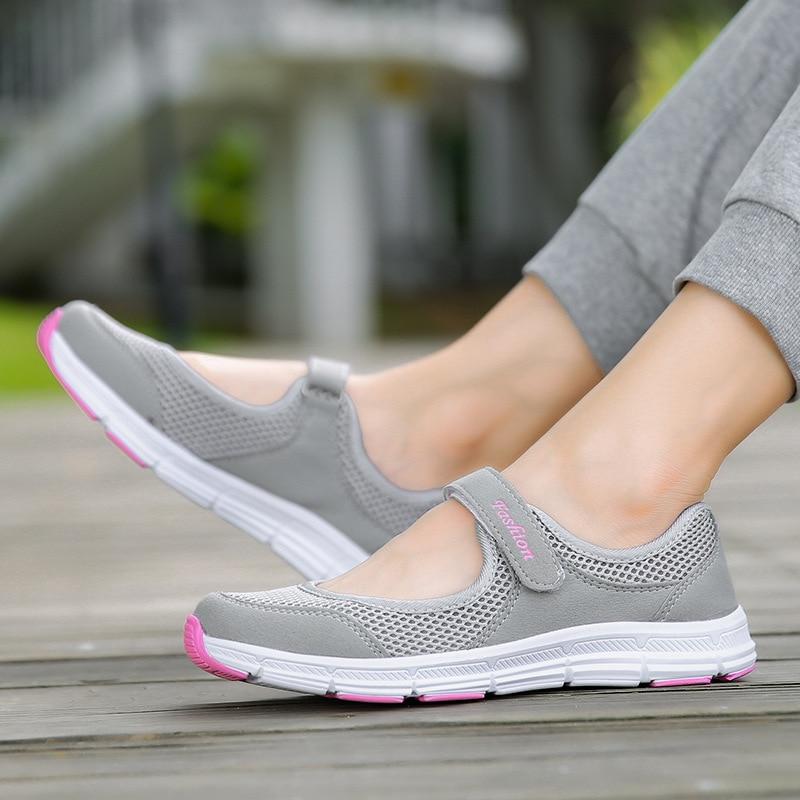 Malha respirável tênis femininos sapatos casuais mulher apartamentos 2019 plana com gancho & loop tênis sólido sapatos femininos zapatos de mujer