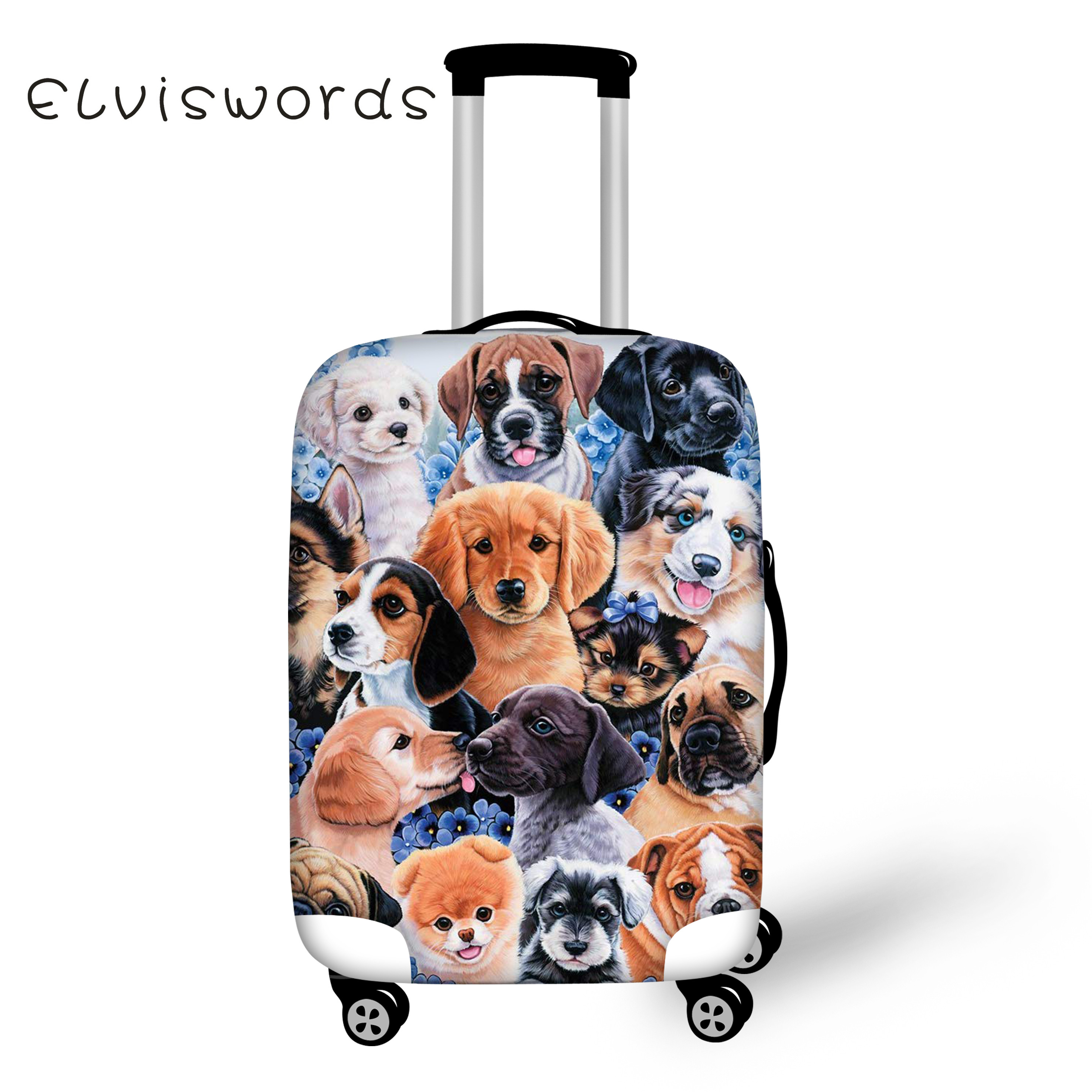 ELVISWORDS Travel Accesseries Cover Cute Dog And Cat Puzzled Printing Thicker Luggage Covers Elastic Protection Dustproof Fuuny
