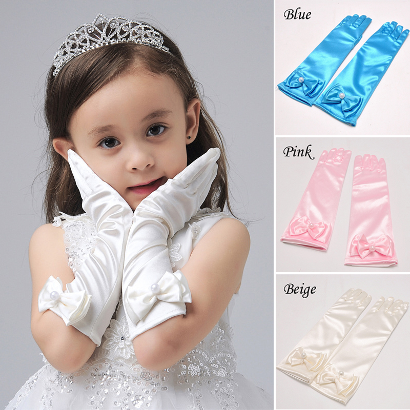 New Long Stretch Elvow Satin Gloves For Flower Girl Children Party Cute Girls Kids Finger White Pearl Bow Gloves Accessories