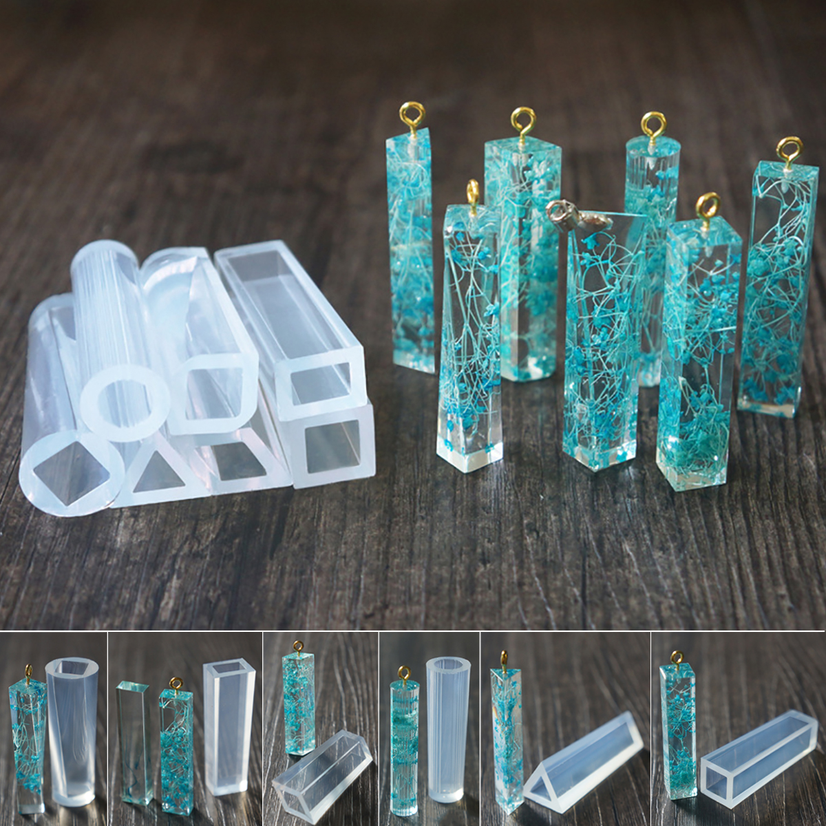 7pcs Mix Style Pendant Fashion Scrapbooking Silicone Mould DIY Epoxy Resin Decorative Craft Jewelry Making Mold