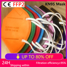 KN95 Mouth Face Mask Multicolor Adult 5 Layer Black White Mask KN95 Ce Protective FFP2 Mascarillas CE Filter Reusable ffp2 Mask