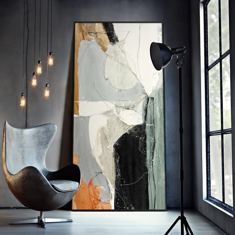 Абстрактная линия, современное минималистичное украшение для гостиной, живопись, крыльцо, коридор, украшение, вертикальная офисная абстрак...