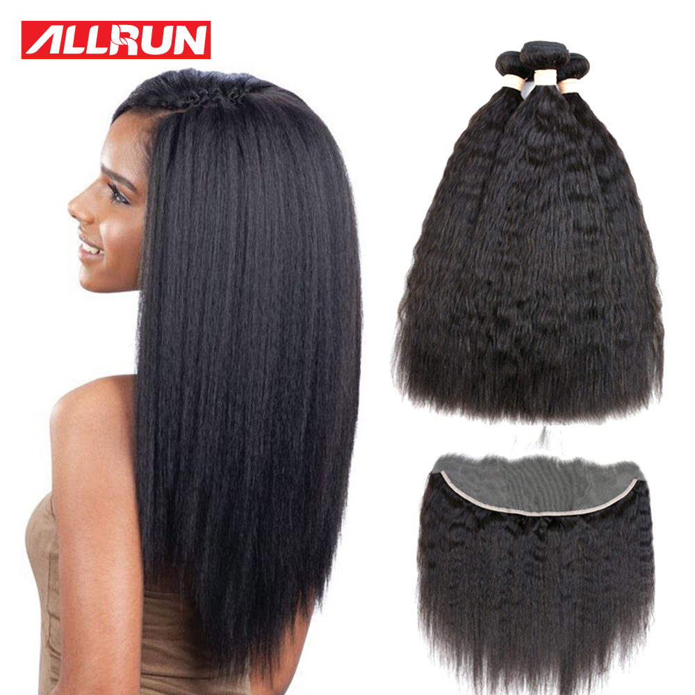 Allrun Kinky Straight Hair Bundles With Frontal Closure Brazilian Hair Weave Bundles 100% Human Hair Bundles With Closure Remy