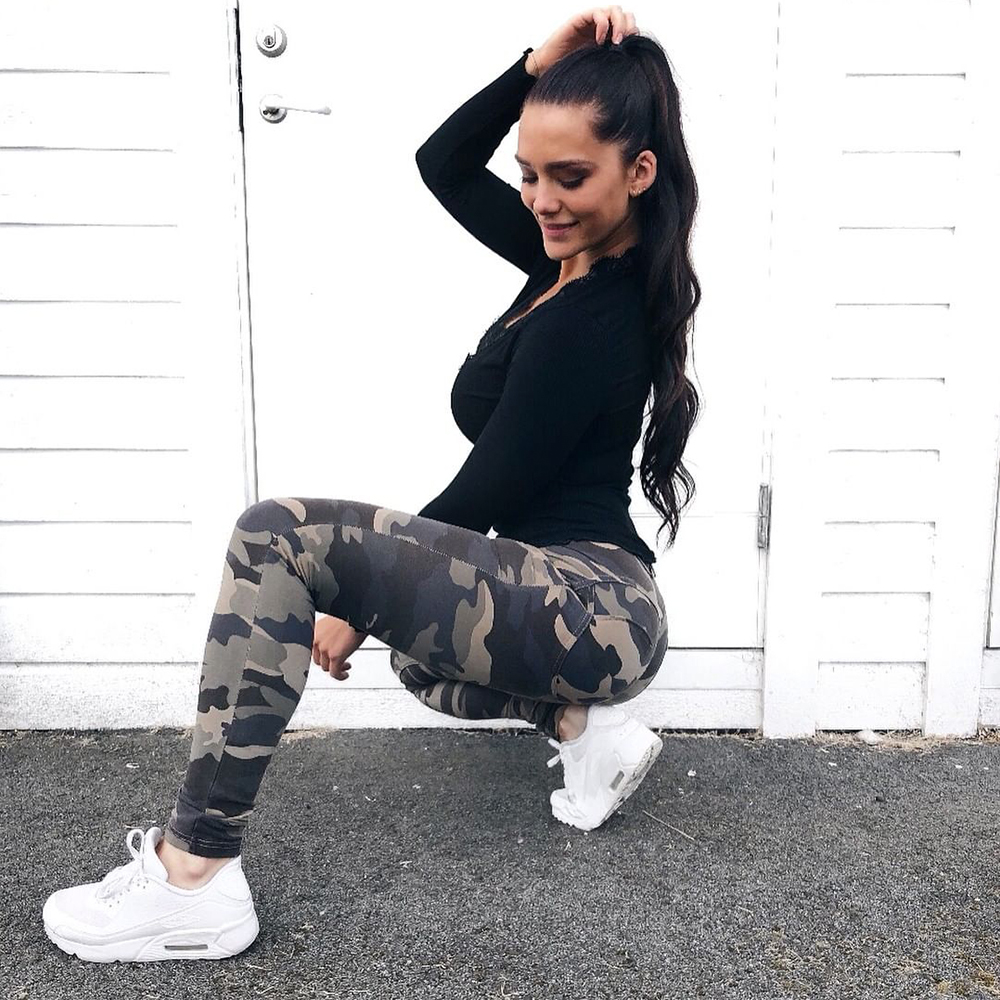 Melody army pants woman butt push up pants low waist women
