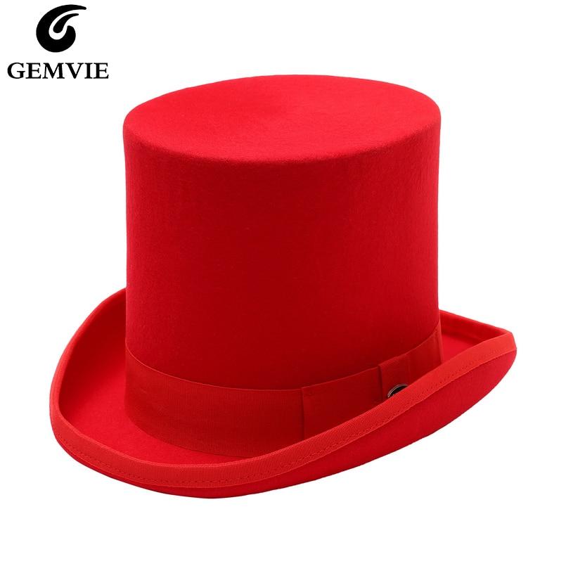 GEMVIE 17cm 100% Wool Felt Red Top Hat Costume Fedora Cylinder Hat for Women/Men Topper Mad Hatter Party Derby Magician Hat