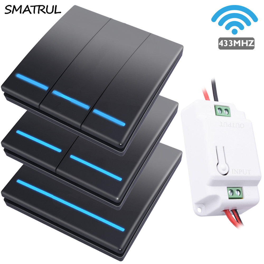 SMATRUL 1/2/3 Gang 433Mhz Smart Push Wireless Switch Light RF Remote Control 110V 220V Receiver Home Wall Button Ceiling Lamp