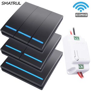SMATRUL 1/2/3 gang 433Mhz smart push Wireless Switch Light RF Remote Control 110V 220V Receiver Wall Panel button Ceiling Lamp(China)