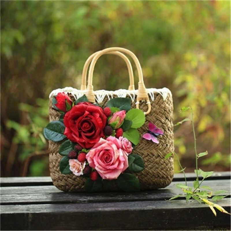 Summer Trend Bali Straw Bags for Women Flowers Handmade Woven Beach Bag Travel Women's Knit Travel Party Handbags Bolsa Feminia