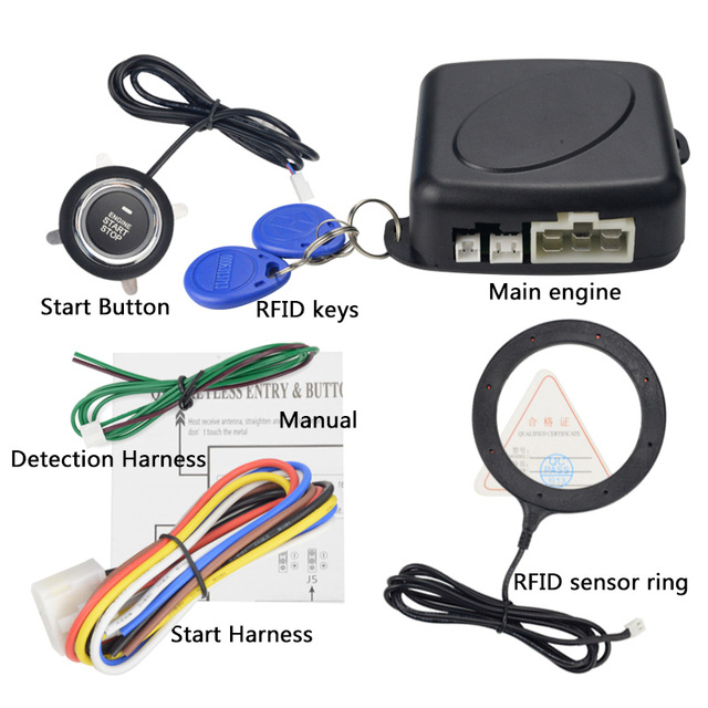 12V Auto Car Alarm One Start Stop Button Engine Push Button RFID Lock Ignition Switch Keyless Entry Starter Antitheft System 5