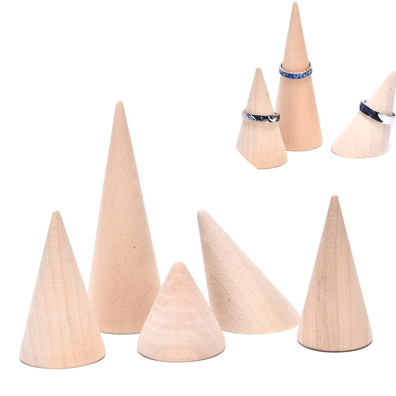 Vintage Natural Unpainted Wood Finger Cone Ring Holder Bague Jewelry Display Stand Organizer Storage Rack Showcase For Exhibit