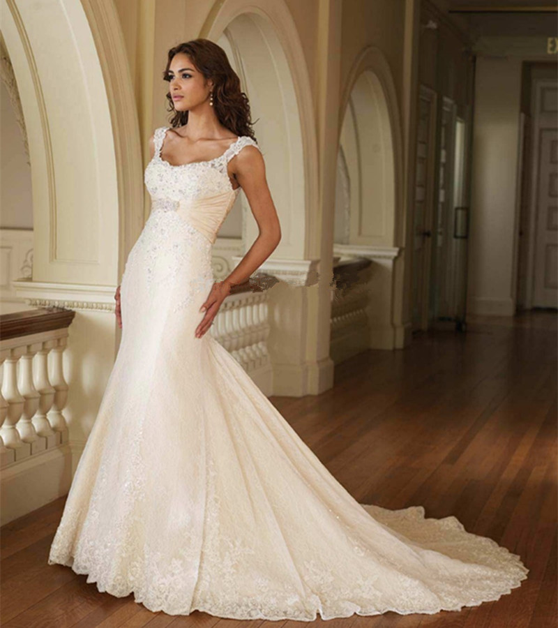 Attractive Scoop Neck Lace Cap Sleeve Mermaid Sexy Backless Bridal Gown Vestido De Noiva 2018 Mother Of The Bride Dresses