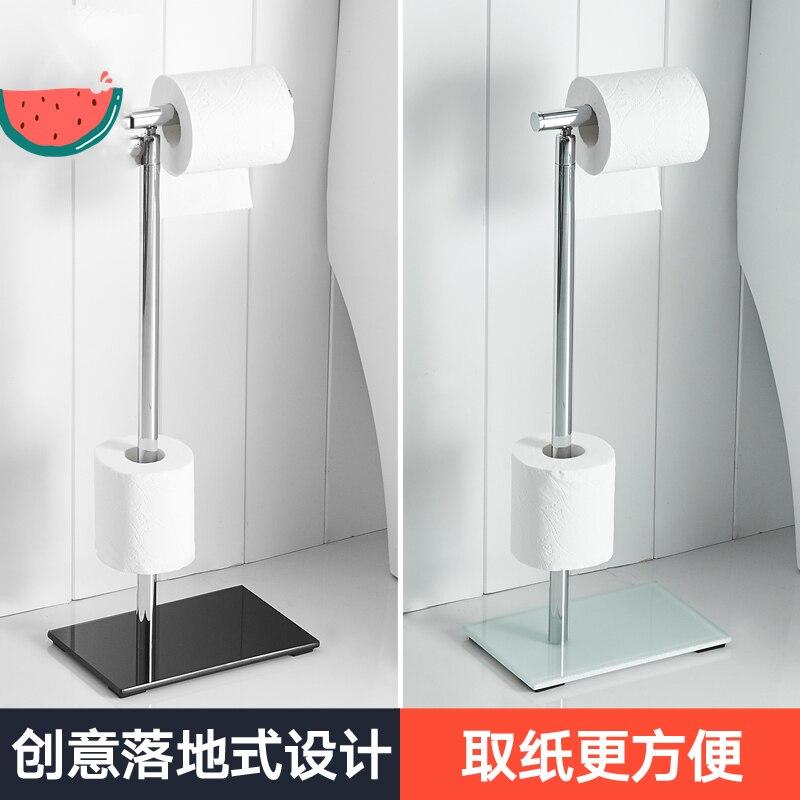 Luxury Roll Holder Villa Hotel-floor Storage Double Paper Towel Holder Floor-standing Toilet Paper Holder Tempered Glass Base