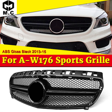 Fit For Merceds W176 A-Class A45 Style Front Grille Grill ABS Gloss Black Sports A180 A200 A220 A250 Pre-Facelift Models To 16+