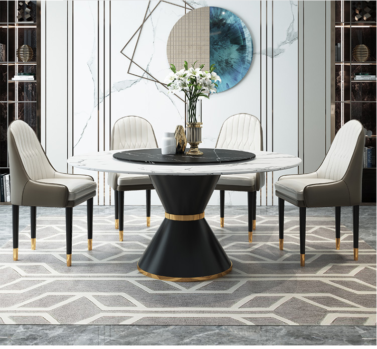 Turntable Marble Round Dining Table, Round Marble Table Dining Set