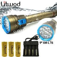 Linterna de submarinismo profesional DX9 IPX8, luz Led brillante, muy potente, resistente al agua, con batería de 26650 y 200 metros bajo el agua