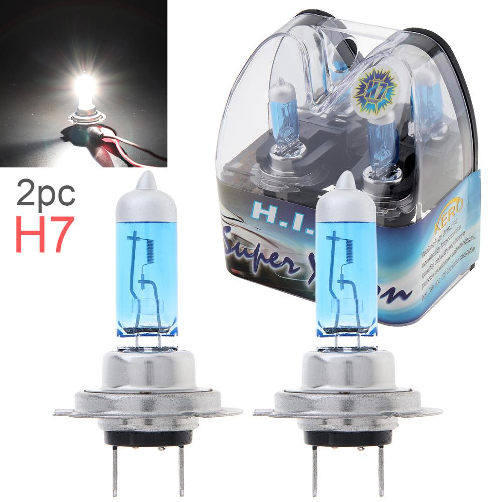 2Pcs 12V H7 55W White Light Car Xenon Halogen Lamp 6000K Auto Front Headlight Fog Bulbs