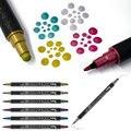 Новый металлический цвет, Япония, двойная головка, маркер Zig KURETAKE, акварельная ручка, чистый цвет, точка, круглые штампы, искусственные цвета