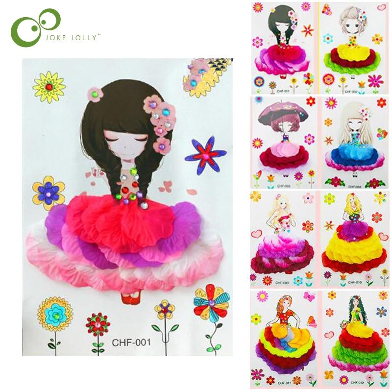 4 pièces enfants fleurs bricolage autocollants dessin jouet autocollants pour maternelle pépinière image éducative à la main pâte peinture GYH