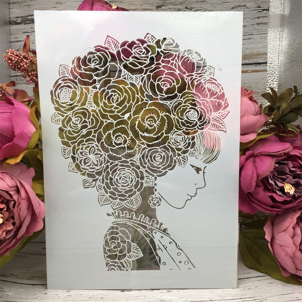 A4 29cm Beautiful Flower Hair Girl DIY Layering Stencils Painting Scrapbook Coloring Embossing Album Decorative Card Template