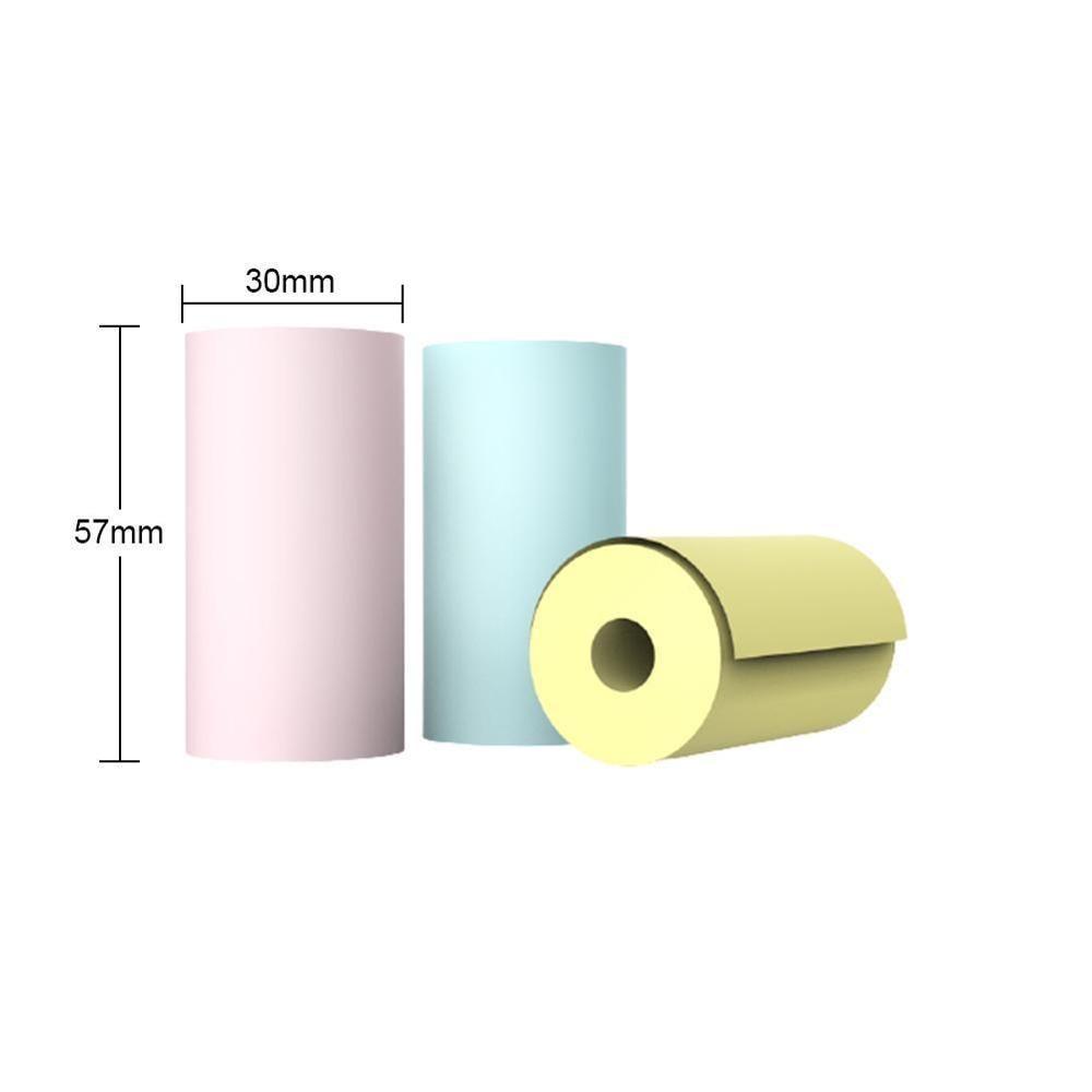 3 Rollers/Bag Colored Thermal Label Paper Random Colors Width 57mm Diameter 30mm Top Coated Pocket Portable Printer Thermal Pape