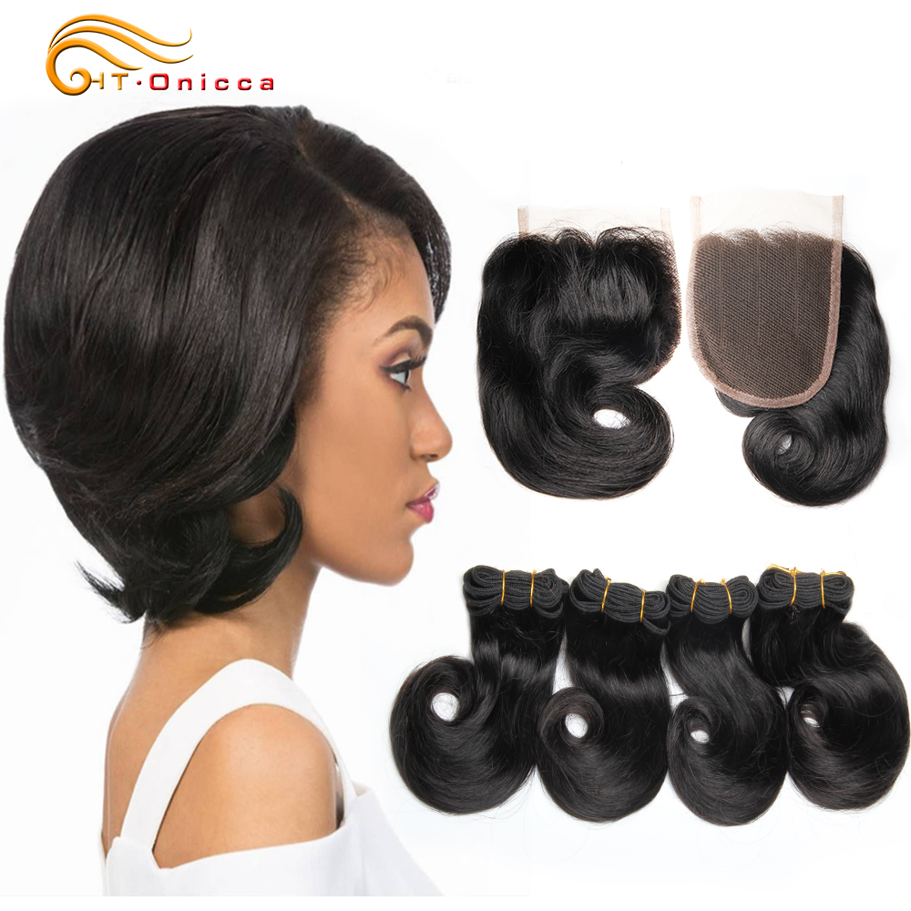 Htonicca Brazilian Curly Bundles With Closure 8 Inch Human Hair Bundles With Closure Hair Extension