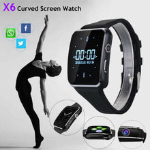2019New X6 Curved Screen Bluetooth Smartwatch TF SIM Camera Men Women Smart Watch for Android IOS iPhone Samsung Fashion Watches