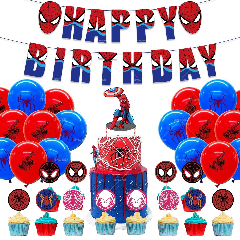Супер герой шары с изображениями Человека-паука вкладыш для торта тема комплект баннер комплект латексные воздушные шары на день рождения ...