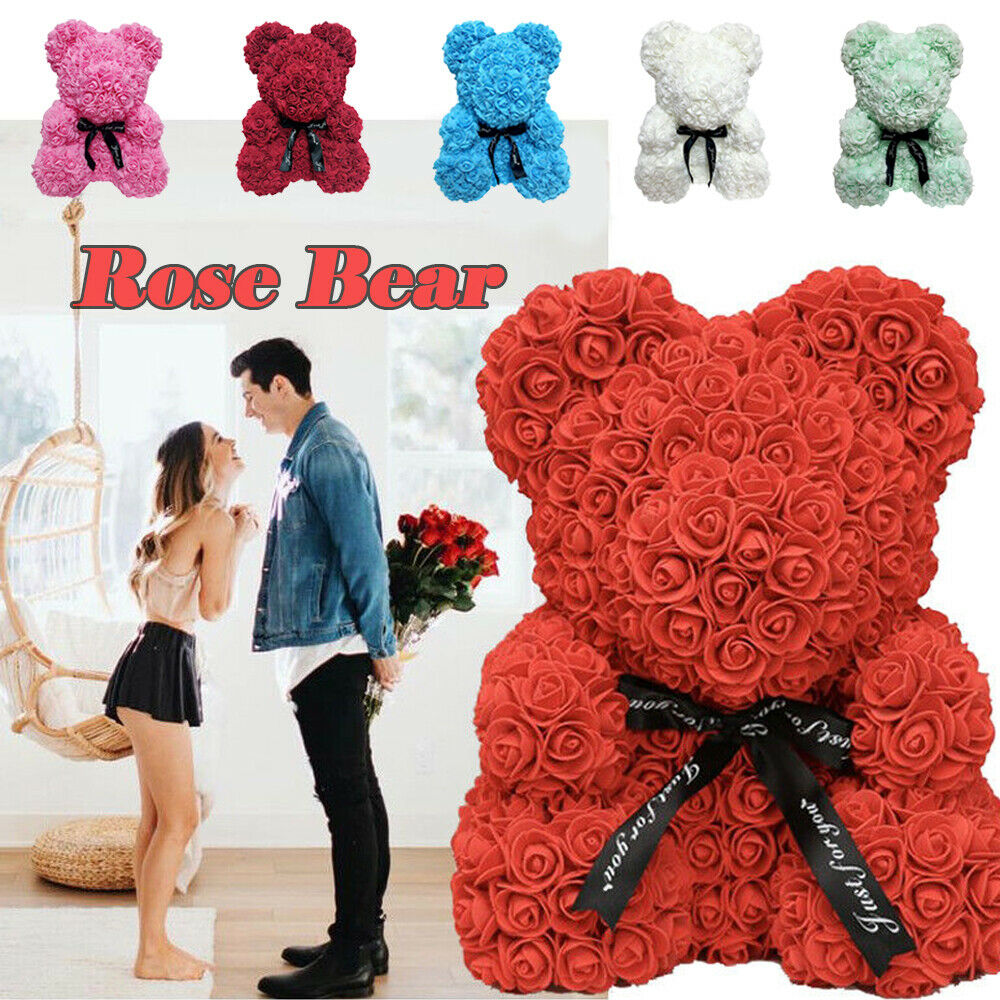 40cm Pink Rose Bear Heart Flower Gift For Girlfriend Birthday Wedding Artificial Party Home Decor