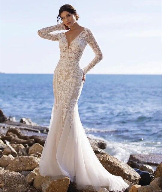 Beach Mermaid Wedding Dresses 2021 V-Neck Long Sleeve Lace Appliques Backless Tulle Bride Gown Sweep Train Vestidos De Noiva 5