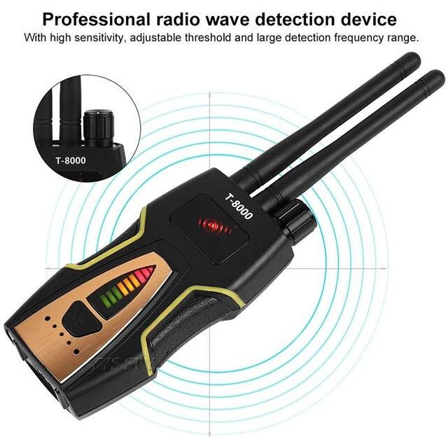 T8000 Radio RF Signal Detector Portable Anti Spy Hidden Camera Detector GSM Audio Bug Finder GPS Scanner Large Detection Range 5