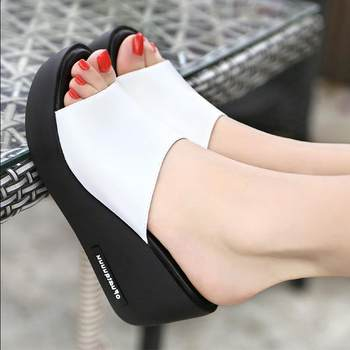 Women shoes Summer Fashion PU leather Leisure shoes women platform wedges Fish Mouth Sandal Thick Bottom Slippers