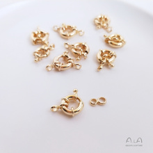 Customized 14K Gold-Plated Color Retention Spring Fastener Steering Wheel Buckle Circle Pearl Necklace Bracelet Clasp Connector