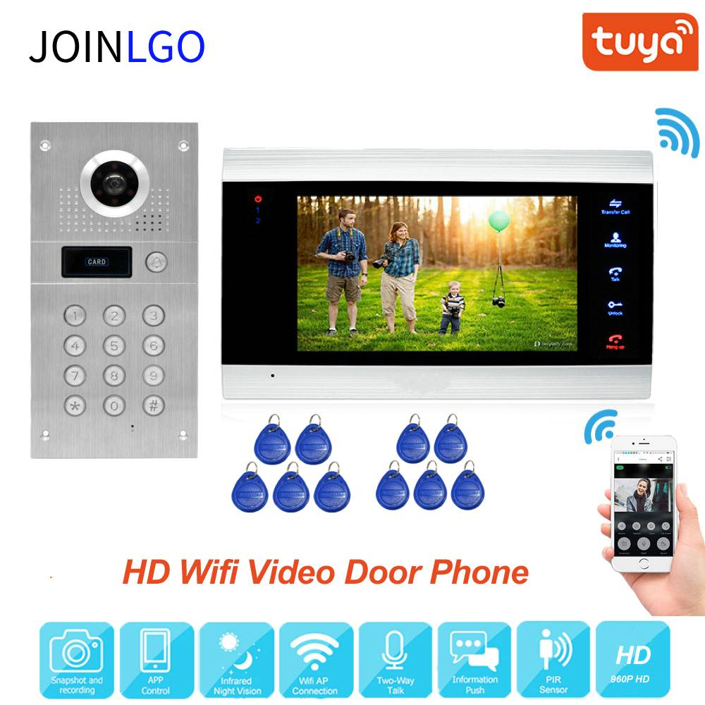 Tuya Smart App Remote Unlock Wifi Ip Video Deurtelefoon Video Intercom System Bewegingsdetectie Code Toetsenbord Rfid Camera Gratis schip