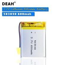 Bateria recarregável de polímero de lítio, 3.7v lipo 503040 600mah para mp3 mp4 mp5 gps bluetooth headset dvd pda câmera de lâmpada led